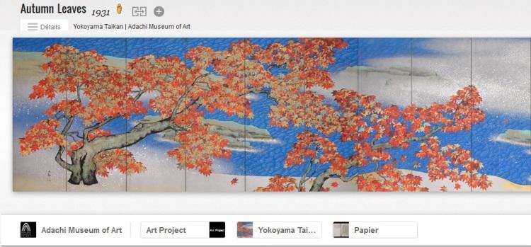 """Le chef d'oeuvre de Yokayama Taikan, un paravent appelé """"Feuilles d'automne"""". Le musée d'art Adachi participe au projet Google Art qui offre un accès en ligne gratuit et en haute résolution à 150 œuvres de 62 artistes présentés au musée."""