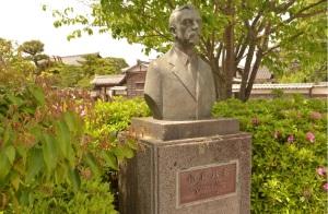 Lafcadio Hearn Statue in Shiomi Nawate Street Matsue Japan