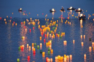 Toro-nagashi Floating Lantern Ceremony - Ohashi River - Matsue Japan