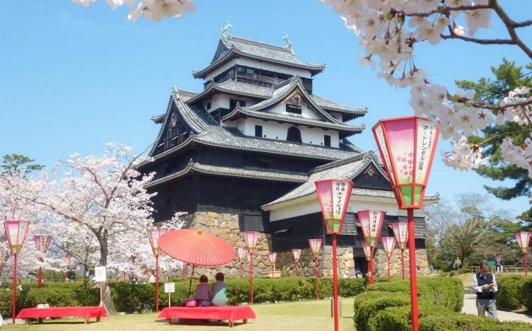 Matsue shimane japon tourisme voyage trip rural authentique chateau donjon edo époque bois traditionnel bâtiment architecture cerisiers sakura hanami